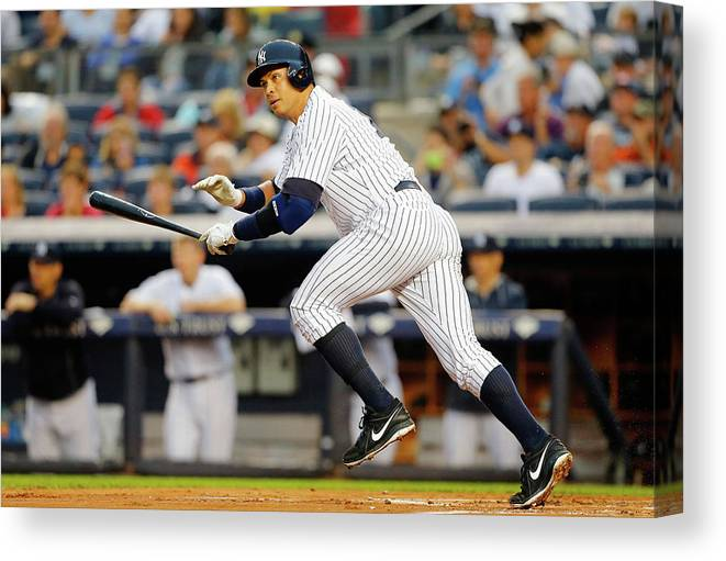 Following Canvas Print featuring the photograph Alex Rodriguez by Jim Mcisaac