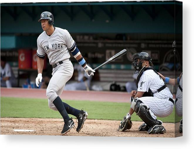 American League Baseball Canvas Print featuring the photograph Alex Rodriguez by Ronald C. Modra/sports Imagery
