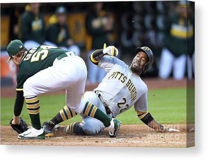 People Canvas Print featuring the photograph Andrew Mccutchen and Sonny Gray by Thearon W. Henderson