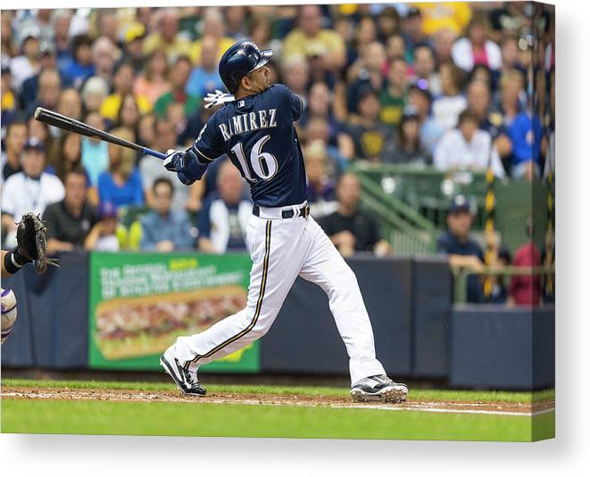 American League Baseball Canvas Print featuring the photograph Aramis Ramirez by Tom Lynn