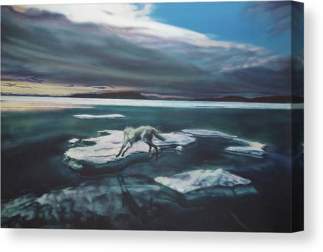 Oil Painting On Canvas Canvas Print featuring the painting Arctic Wolf by Sean Connolly