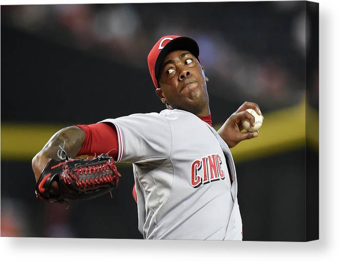 Ninth Inning Canvas Print featuring the photograph Aroldis Chapman by Norm Hall