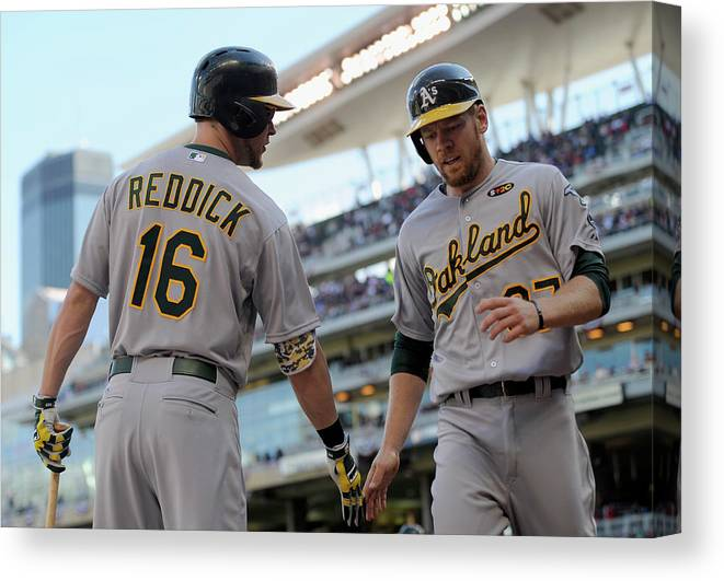 Second Inning Canvas Print featuring the photograph Brandon Moss and Josh Reddick by Hannah Foslien
