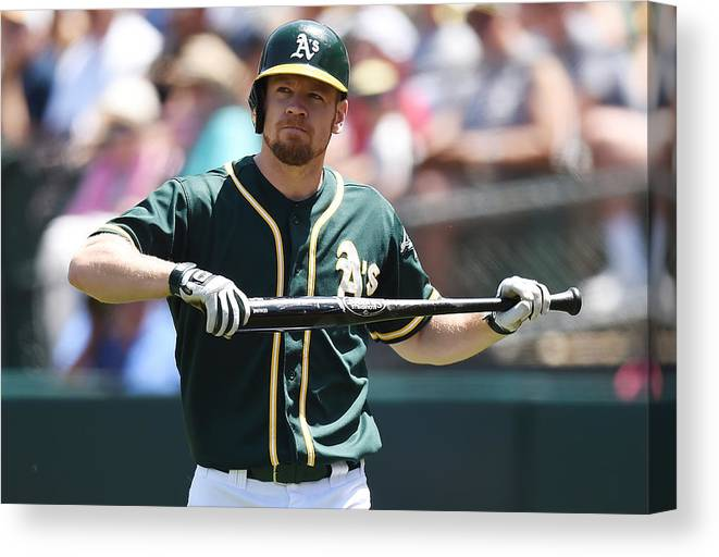 American League Baseball Canvas Print featuring the photograph Brandon Moss by Thearon W. Henderson