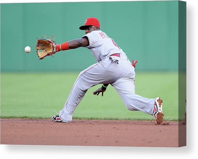 Second Inning Canvas Print featuring the photograph Brandon Phillips and Ike Davis by Joe Sargent