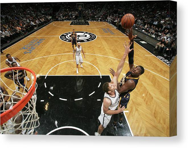 Nba Pro Basketball Canvas Print featuring the photograph Brook Lopez and Roy Hibbert by Nathaniel S. Butler
