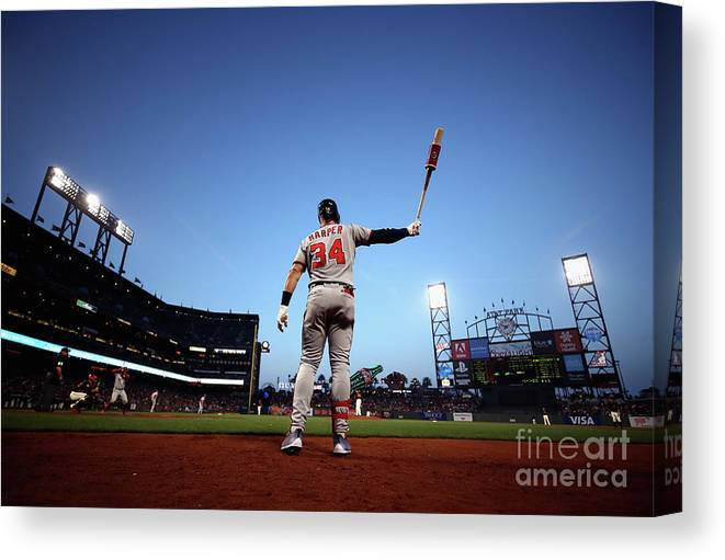 San Francisco Canvas Print featuring the photograph Bryce Harper by Ezra Shaw