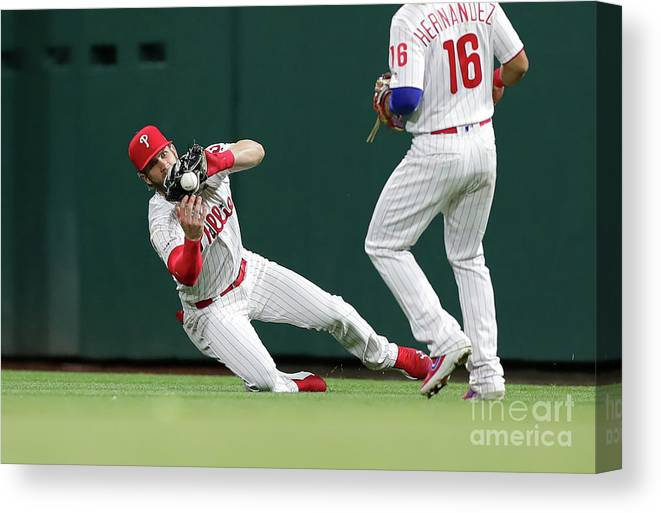 People Canvas Print featuring the photograph Bryce Harper by Hunter Martin