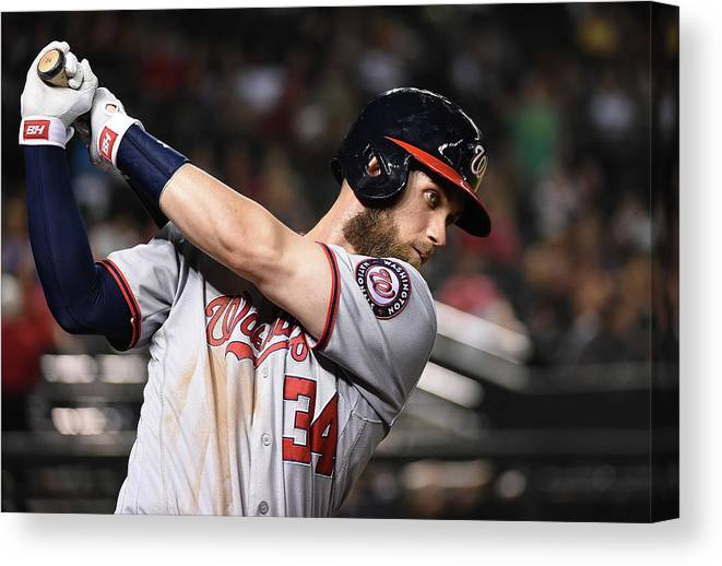People Canvas Print featuring the photograph Bryce Harper by Norm Hall