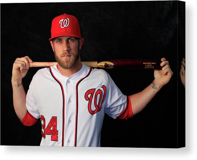 Media Day Canvas Print featuring the photograph Bryce Harper by Rob Carr