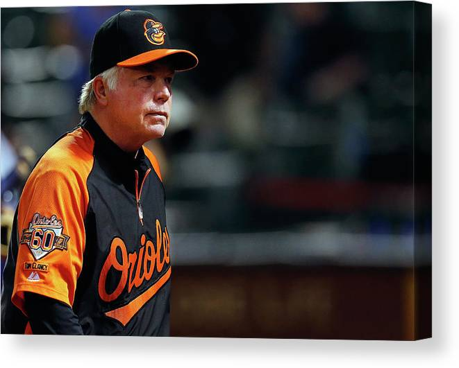American League Baseball Canvas Print featuring the photograph Buck Showalter by Tom Pennington