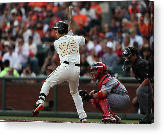 San Francisco Canvas Print featuring the photograph Buster Posey by Brad Mangin