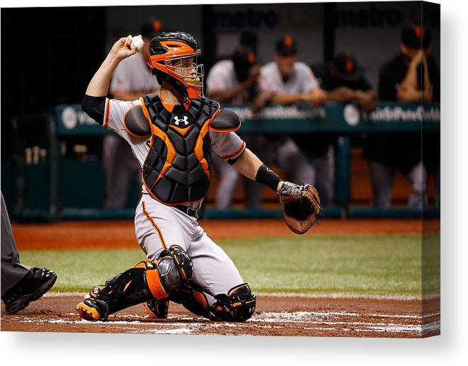 Baseball Catcher Canvas Print featuring the photograph Buster Posey by J. Meric
