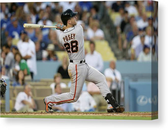 People Canvas Print featuring the photograph Buster Posey by Stephen Dunn