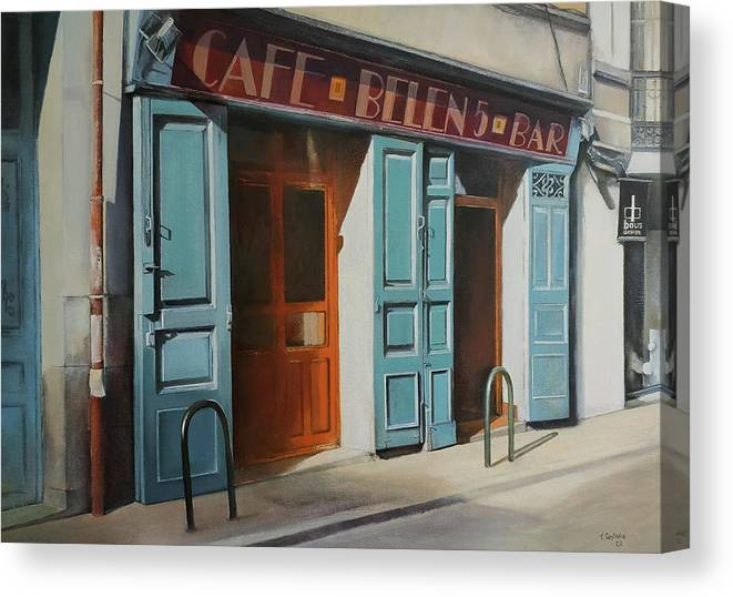 Coffee Canvas Print featuring the painting cafe Belen by Tomas Castano