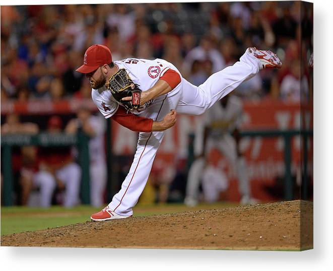 Ninth Inning Canvas Print featuring the photograph Cam Bedrosian by Kevork Djansezian
