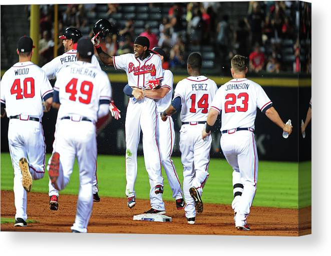 Atlanta Canvas Print featuring the photograph Cameron Maybin by Scott Cunningham