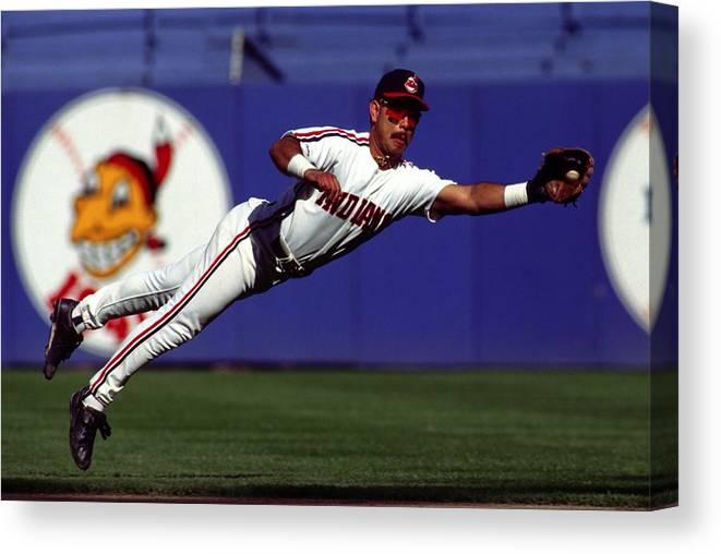 American League Baseball Canvas Print featuring the photograph Carlos Baerga by Ronald C. Modra/sports Imagery
