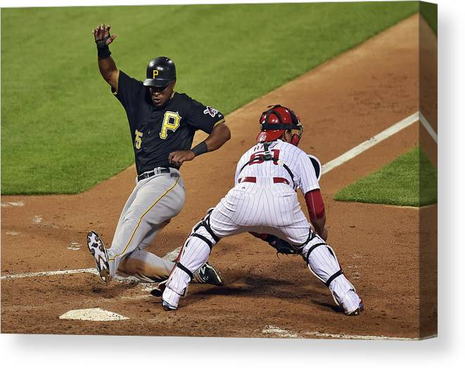 People Canvas Print featuring the photograph Carlos Ruiz and Gregory Polanco by Drew Hallowell