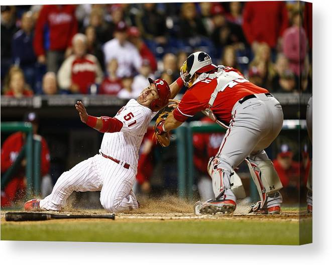 Baseball Catcher Canvas Print featuring the photograph Carlos Ruiz, Wilson Ramos, and Odubel Herrera by Rich Schultz