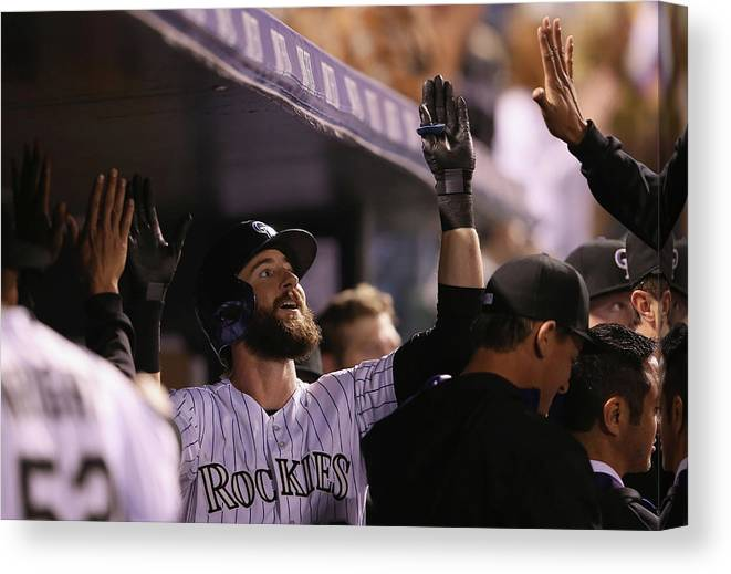 Celebration Canvas Print featuring the photograph Charlie Blackmon by Doug Pensinger