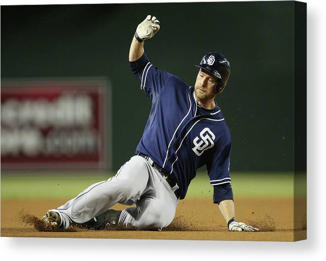 Motion Canvas Print featuring the photograph Chase Headley by Christian Petersen