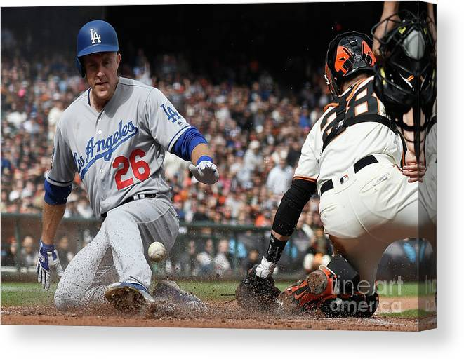 San Francisco Canvas Print featuring the photograph Chase Utley and Buster Posey by Thearon W. Henderson