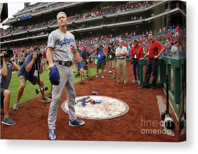 People Canvas Print featuring the photograph Chase Utley by Hunter Martin