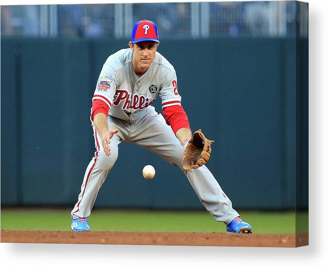 American League Baseball Canvas Print featuring the photograph Chase Utley by Rob Carr