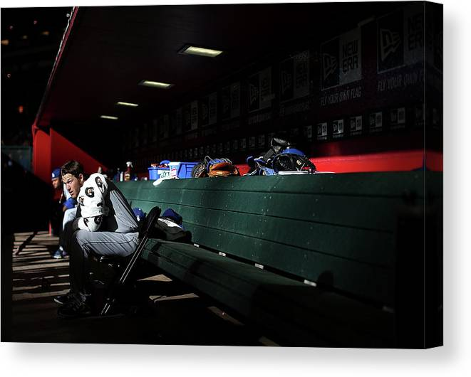 Baseball Pitcher Canvas Print featuring the photograph Clayton Kershaw by Christian Petersen