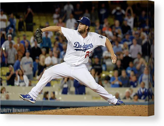 Ninth Inning Canvas Print featuring the photograph Clayton Kershaw by Kevork Djansezian
