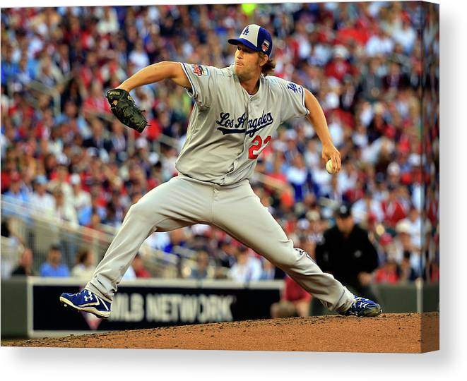 People Canvas Print featuring the photograph Clayton Kershaw by Rob Carr