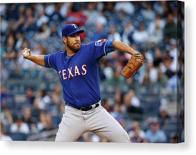 Three Quarter Length Canvas Print featuring the photograph Colby Lewis by Al Bello