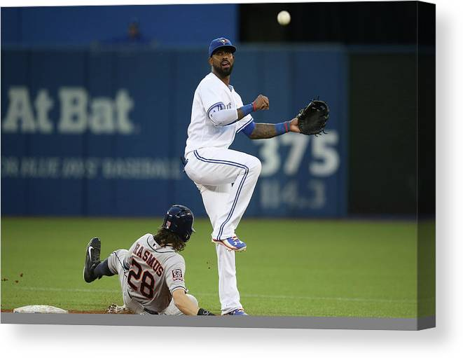 Double Play Canvas Print featuring the photograph Colby Rasmus and Jose Reyes by Tom Szczerbowski