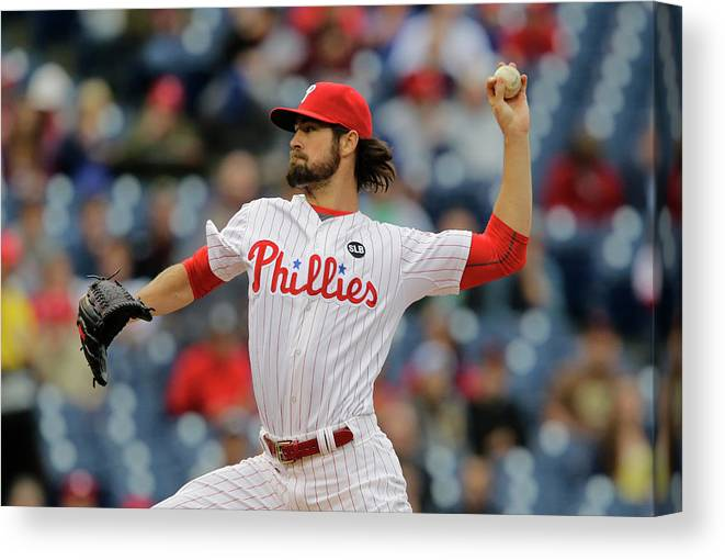 Three Quarter Length Canvas Print featuring the photograph Cole Hamels by Hunter Martin