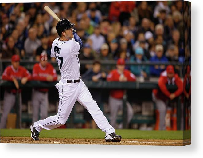 American League Baseball Canvas Print featuring the photograph Corey Hart by Otto Greule Jr