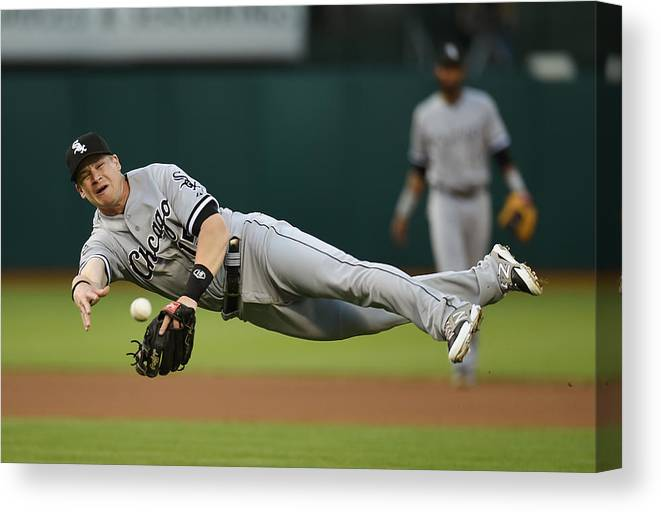 American League Baseball Canvas Print featuring the photograph Craig Gentry and Gordon Beckham by Thearon W. Henderson