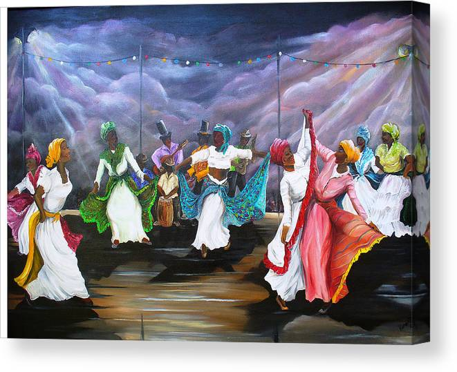 Caribbean Painting Original Painting Folklore Dance Painting Trinidad And Tobago Painting Dance Painting Tropical Painting Canvas Print featuring the painting Dance The Pique by Karin Dawn Kelshall- Best
