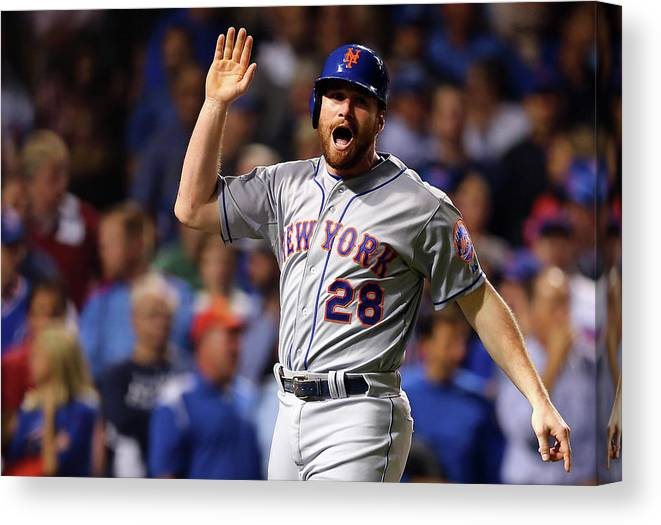 Second Inning Canvas Print featuring the photograph Daniel Murphy, Lucas Duda, and Travis Wood by Elsa