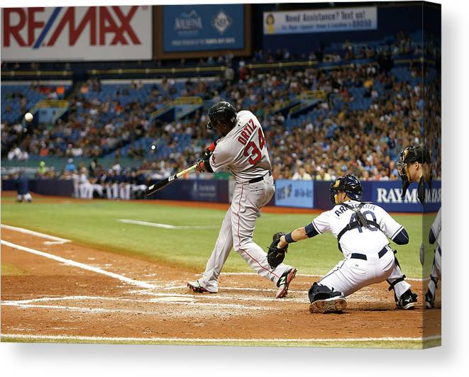 Baseball Catcher Canvas Print featuring the photograph David Ortiz by Brian Blanco