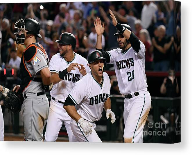 Three Quarter Length Canvas Print featuring the photograph David Peralta and Chris Iannetta by Norm Hall