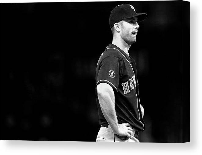 American League Baseball Canvas Print featuring the photograph David Wright by Mike Ehrmann