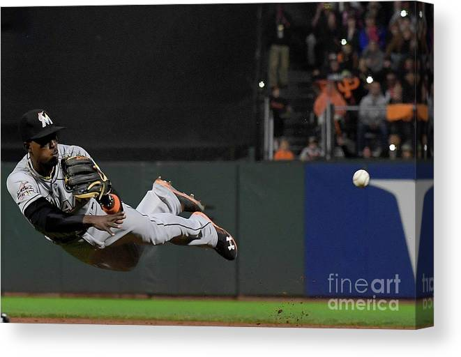 San Francisco Canvas Print featuring the photograph Dee Gordon and Brandon Crawford by Thearon W. Henderson