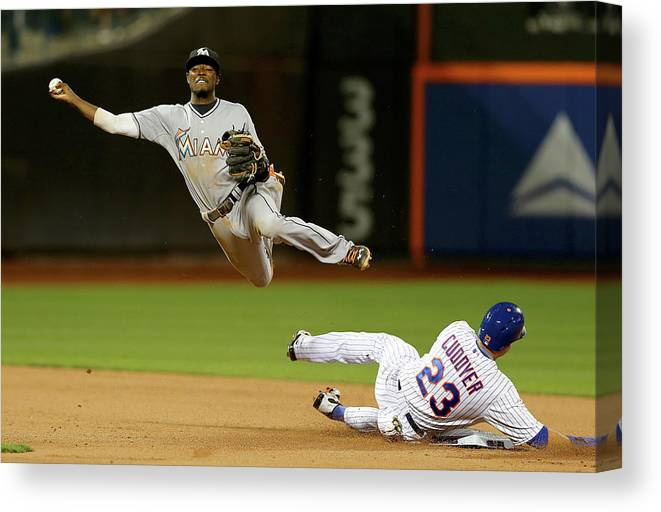 Double Play Canvas Print featuring the photograph Dee Gordon and Michael Cuddyer by Elsa