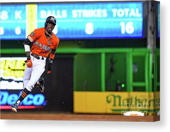 People Canvas Print featuring the photograph Dee Gordon by Mark Brown