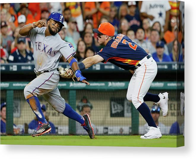 Alex Bregman Canvas Print featuring the photograph Delino Deshields by Bob Levey