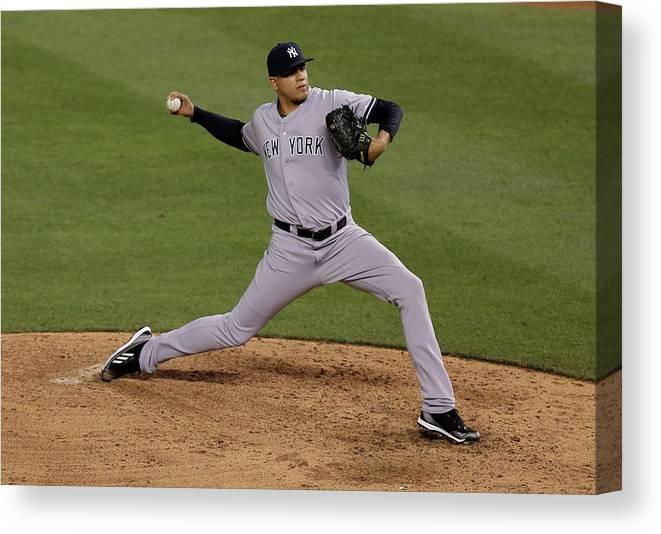 American League Baseball Canvas Print featuring the photograph Dellin Betances by Ed Zurga