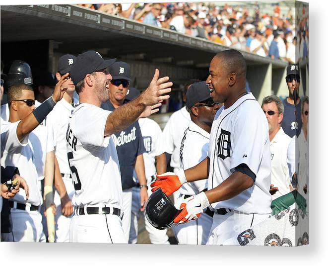 American League Baseball Canvas Print featuring the photograph Delmon Young, Justin Verlander, and Miguel Cabrera by Leon Halip