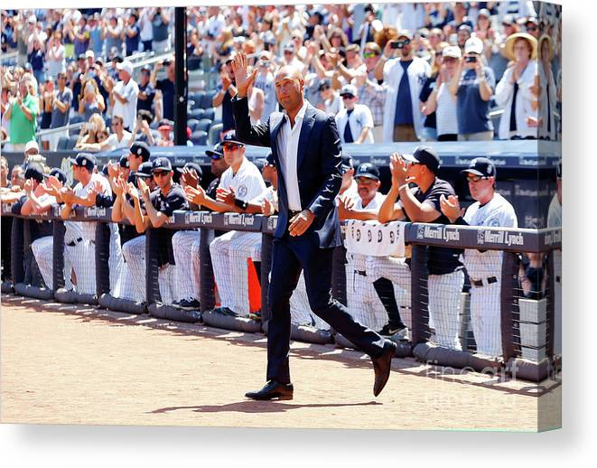People Canvas Print featuring the photograph Derek Jeter and Jorge Posada by Jim Mcisaac