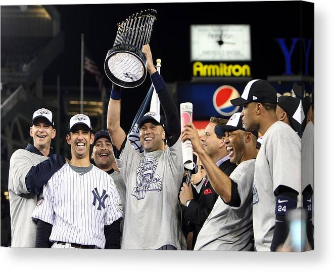 American League Baseball Canvas Print featuring the photograph Derek Jeter, Mariano Rivera, and Jorge Posada by Jed Jacobsohn